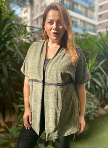 Optique Knitwear Düz Şal Yaka Kolsuz Kaşmir Yelek Haki